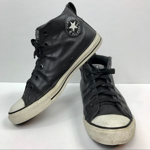Converse black leather chuck taylor all stars 8.5